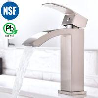 NSF Lead Free Bathroom Waterfall Faucet Brushed Nickel Single Lever Sink Faucet