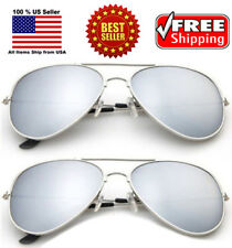 2 PAIRS CLASSIC SILVER MIRROR AVIATOR PILOT COP SUNGLASSES SHADES CUSTOME PARTY