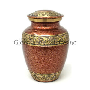 Gold Engraved Brass Floral Medium Urn for Funeral Human Ashes UK