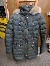 Michael Kors Jacket Coat Puffer Hood Faux Fur Down Dark Moss XS  Green $340