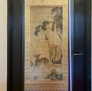 Rarebookkyoto  Lee Dynasty Court painting No trade mark hanging scroll