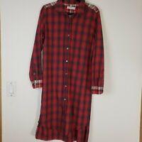 ARTISAN DE LUXE Red Plaid Flannel Long Sleeve Shirt Dress Women's Size M EUC