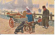 PC27370 Old Postcard. Woman with Dogs near the Sea. W. de Haan. No 69