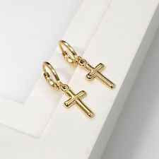 Cross Earrings Party Fashion Jewelry 18k Yellow Gold Filled Charms Dangle