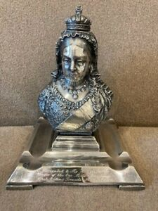 Presentation Trophy Antique Silver-Plated Figural Inkwell Queen Victoria Jubilee
