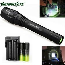 Zoomable XM-L T6 Cree 20000 Lumen LED Flashlight Torch+Charger+2X18650Battery US