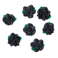 20pcs Hot Sale Charms Black FIMO Polymer Green Leaves Flower White Dots Bead D