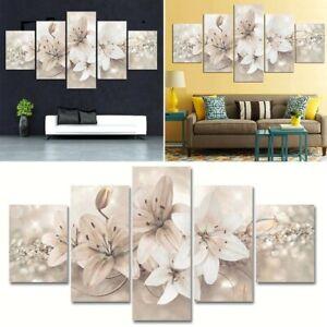 5Pcs Unframed Modern Flower Canvas Painting Wall Art Home Decor Picture Decor