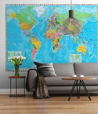 World Map Wall Cover Mural Photo Wallpaper Hanging Globe Poster Room Decoration