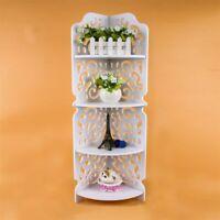 Wooden Corner Stand White 4 Tiers Hollow Carve Shelf Display Storage Holder 1Pc
