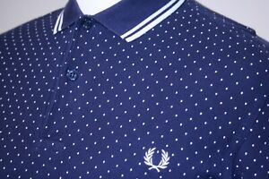 Fred Perry Twin Tipped Polka Dot Polo Shirt - M - Carbon Blue/White - Mod Top