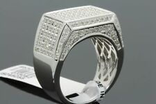1.23 CARAT GENUINE DIAMONDS MENS WHITE GOLD FINISH ENGAGEMENT DIAMOND RING PINKY