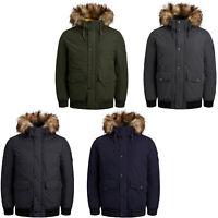 Jack & Jones Parka Jacket Mens Winter Bomber Faux Fur Trim Lined Hooded Coat