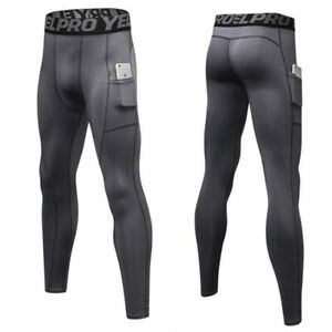 Men's Cycling Running Thermal Compression Gym Tights Sports Pants With Pocket