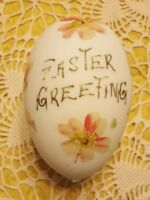 """VINTAGE ♡ SATIN GLASS EGG ♡ PAINTED """"EASTER GREETING"""" APPROXIMATELY 5"""" x 10.75"""""""