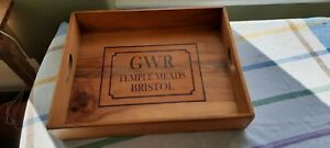 """Large Wooden Butlers Tray Marked Great Western Railway 18.5"""" x 14.5"""""""