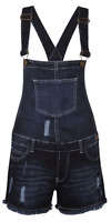 NEW WOMENS LADIES DENIM DUNGAREE SHORTS DRESS GIRLS JUMPSUIT SIZE 8 10 12 14 16