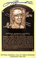 Jeff Bagwell Signed Autographed Hall of Fame Plaque Yellow Postcard TRISTAR COA