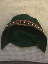 Antique Vtg Hair Bonnet With Faux Pearl And Red Glass