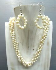 """16"""" Fresh Water Pearl 3 strands Twist Cluster Necklace with Free earrings"""
