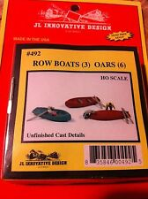 JL Innovative 492 HO Scale 3 Row Boats, 6 Oars Unfinished Cast Metal KIT Form