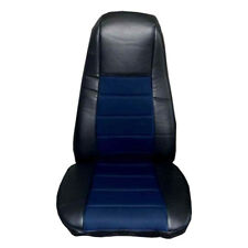 Seat Cover w/Pocket- Black & Blue Faux Leather Peterbilt Freightliner Semi Truck