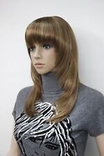 New light brown with blonde highlight skin top straight under shoulder bangs wig