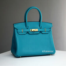 NEW  Paon Blue 30cm HERMES BIRKIN with gold hardware