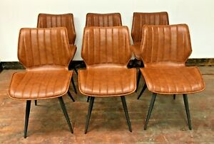 SET OF 6 TAN DINING CHAIRS / RACING SEAT STYLE / VEGAN FAUX LEATHER / METAL BASE