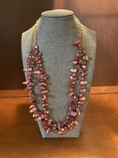 2 Strands & Brass Chain 26� BeadsbyBev One Of Kind Red Blister Pearls