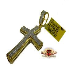 "10k Yellow Gold Pave Genuine Diamond Cross Charm Pendant 2.1"" (.49 Ct) Men Women"