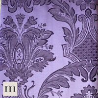 "Luxury Shimmering Purple French Floral Pencil Pleat Curtain Pair Lined 66"" x 72"""