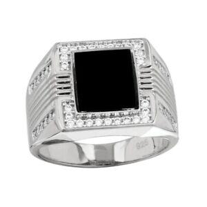 Herren Sterlingsilber Quadrat Form Ring W / Onyx & Cubic Zirkonia Steine