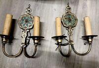 Pair Vintage Antique Cast Brass Electric Wall SconcesE20