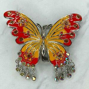 Silver Tone Orange Rhinestone Butterfly Floral Flower Belt Buckle
