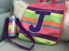 USA BRAND JUSTICE GIRLS SEQUIN INITIAL J SHOPPER BAG AND DRINKS HOLDER INSULATED