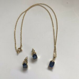 Set Of CZ Simulated Sapphire Gold Necklace And Stud Earrings