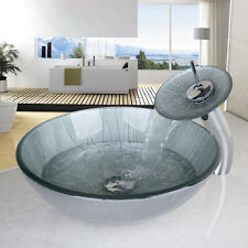 Painting Round Tempered Glass Vessel Bowl Sink And Chrome Waterfall Faucet  Set