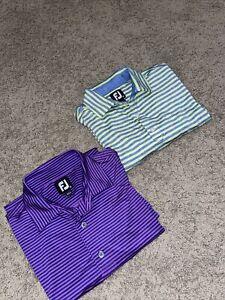 Footjoy Lot of 2 Performance Golf Polo Shirts Short Sleeve Striped Mens Mediun