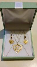 "Pretty 9ct Yellow Gold ""I LOVE YOU"" HEART PENDANT & FILIGREE HEART EARRINGS SET!"