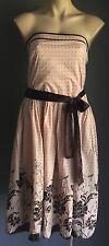 Gorgeous Chic CROSSROADS Blush &Brown Strapless Polka Dot & Floral Dress Size 16