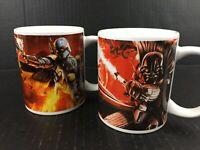 Star Wars Mug Set 2 Heroes Villains Luke Han Solo Boba Fett Darth Vader Combat