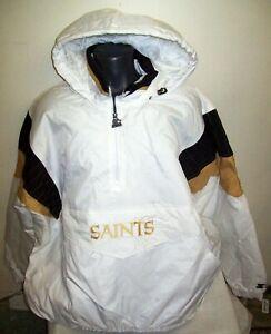 NEW ORLEANS SAINTS Starter Half Zip Jacket WHITE 3X