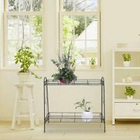 2 Tier Stand Plant Flower Rack Metal Planter Garden Indoor Outdoor Patio Shelves