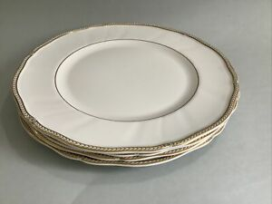 Vintage WEDGWOOD Crown Gold 27cm Dinner Plates - Set Of 4