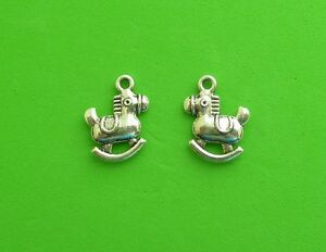 20x Rocking Horse Child Toy Christmas Baby Animal Tibetan Silver Charm Pendant