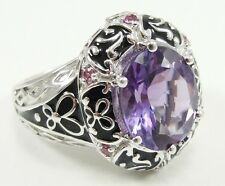 Sterling Silver Amethyst Pink CZ Cocktail Ring Size 8 Black Enamel Oval Shape