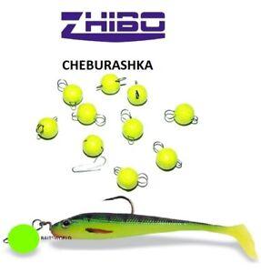 CHEBURASHKA ZHIBO JIG HEAD LIME COLOUR SINKERS SOFT LURE BALL FLEXI DROP SHOT