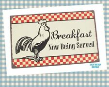 "Retro Country Chic Style Cafe Wall Sign/Plaque -""Breakfast Now Being Served""!"