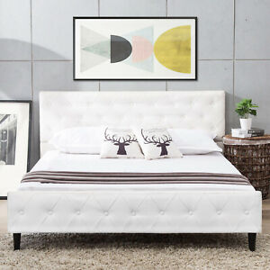 Queen Size PU Leather Metal Bed Frame Platform Button Tufted Upholstered White